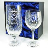 Crystal Family Crest Wine & Beer Glass Set PERSONALISED ref CWBS